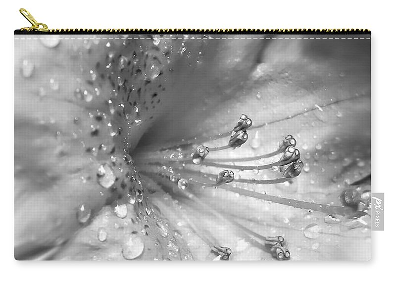 Azalea Carry-all Pouch featuring the photograph Azalea Flower With Raindrops Monochrome by Jennie Marie Schell
