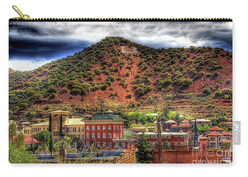 B Carry-all Pouch featuring the photograph B Hill Over Historic Bisbee by Charlene Mitchell