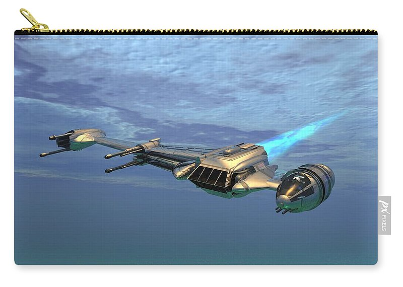 Digital Art Carry-all Pouch featuring the digital art B Wing Aircraft by Michael Wimer