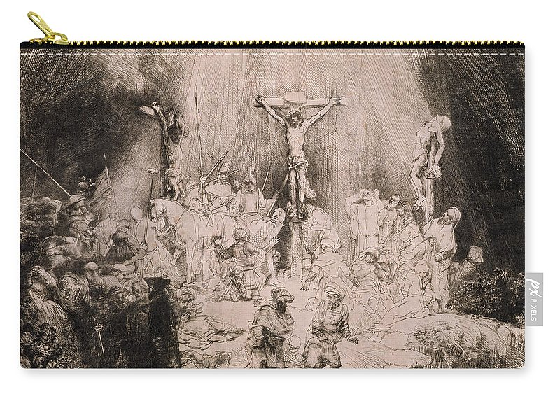 Rembrandt Carry-all Pouch featuring the drawing The Three Crosses, Circa 1660 by Rembrandt Harmensz van Rijn