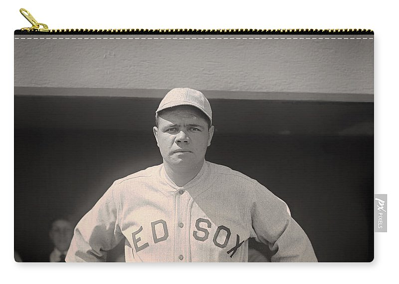 Babe Ruth Carry-all Pouch featuring the photograph Babe Ruth With The Sox by Mountain Dreams