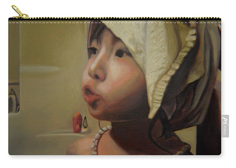 Figure Carry-all Pouch featuring the painting Baby Bath Mama by Thu Nguyen