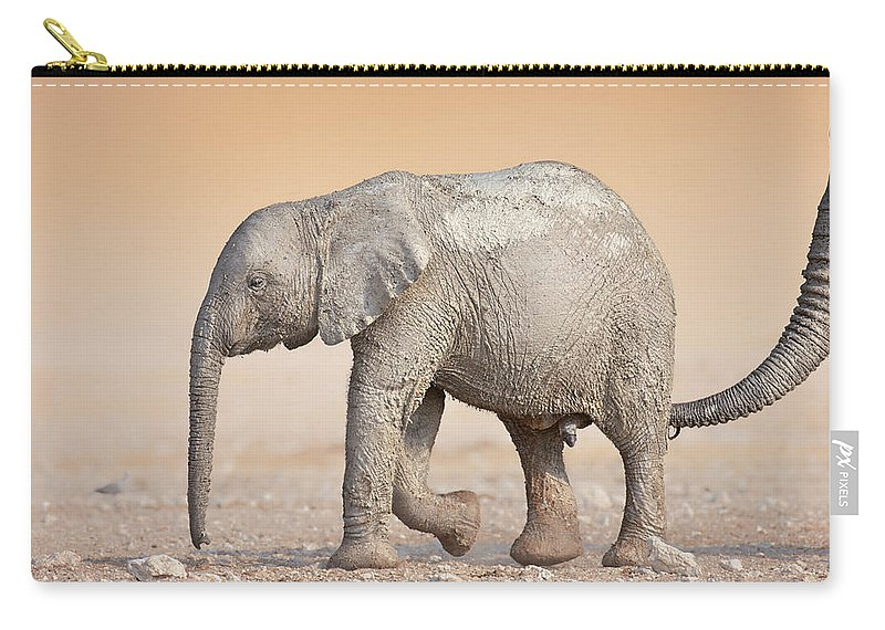 Wild Carry-all Pouch featuring the photograph Baby Elephant by Johan Swanepoel