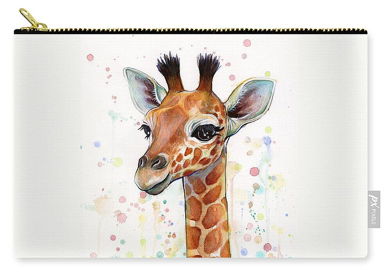 Watercolor Carry-all Pouch featuring the painting Baby Giraffe Watercolor by Olga Shvartsur