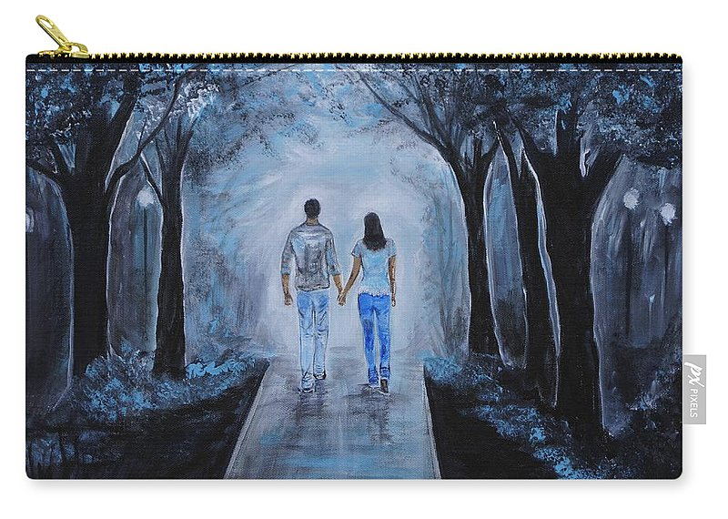 Couple Painting Carry-all Pouch featuring the painting Baby I'm Yours by Leslie Allen
