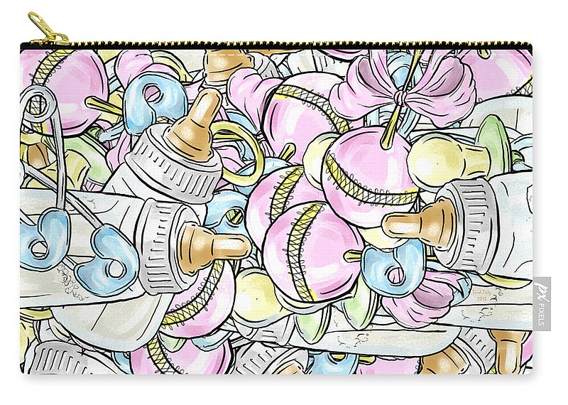 Baby Carry-all Pouch featuring the mixed media Baby On The Way by Trish Tritz