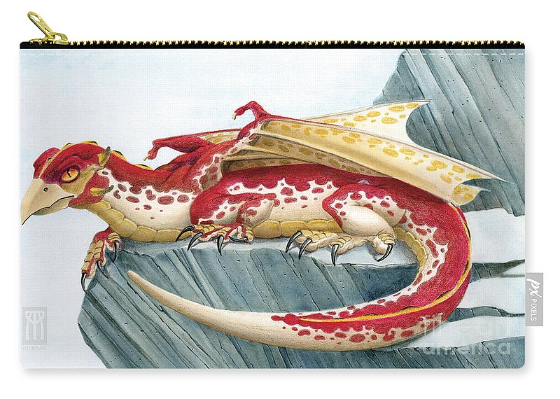 Dragon Carry-all Pouch featuring the mixed media Baby Scarlet Spotted Dragon by Melissa A Benson