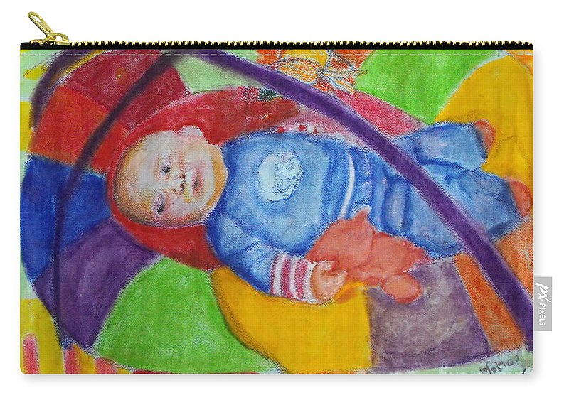 Baby Portrait Carry-all Pouch featuring the mixed media Baby Ted In Motion Portrait by Caroline Cunningham