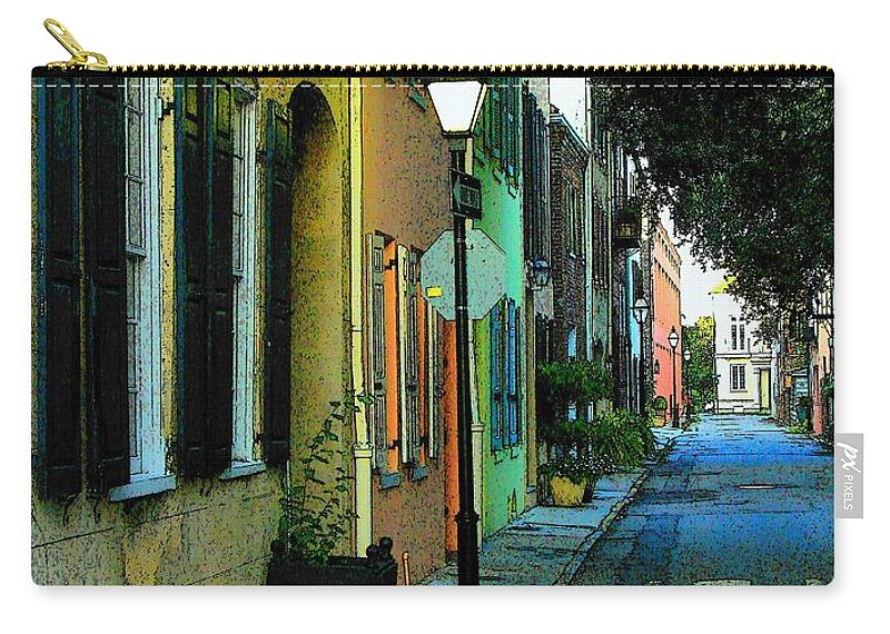 Digital Art Carry-all Pouch featuring the photograph Back Street In Charleston by Rodney Lee Williams