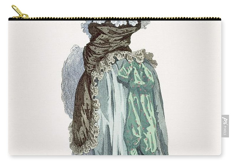 Clothing Carry-all Pouch featuring the drawing Back View Of A Promenade Gown, Engraved by Francois Louis Joseph Watteau