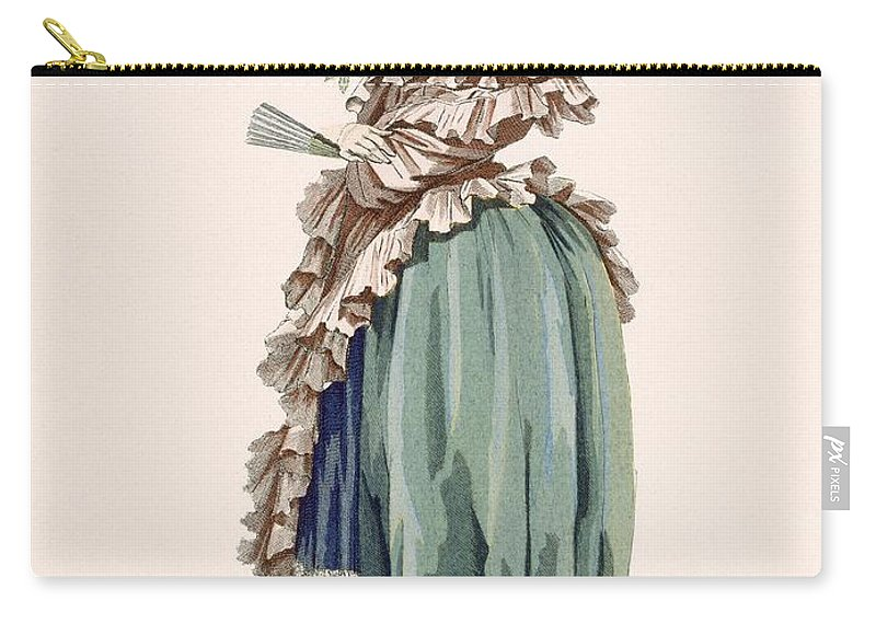 Carry-all Pouch featuring the drawing Back View Of Ladys Dress, Engraved by Francois Louis Joseph Watteau