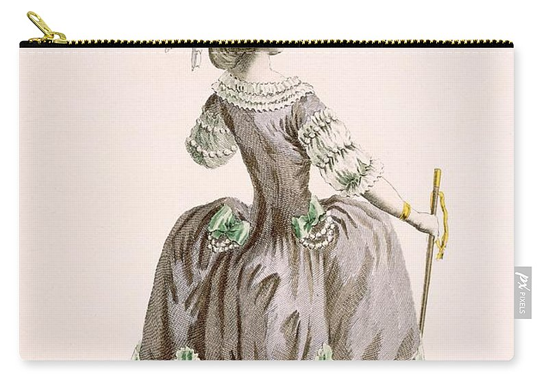 Clothing Carry-all Pouch featuring the drawing Back View Of Ladys Grey Promenade by Pierre Thomas Le Clerc