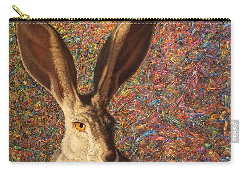 Rabbit Carry-all Pouch featuring the painting Background Noise by James W Johnson