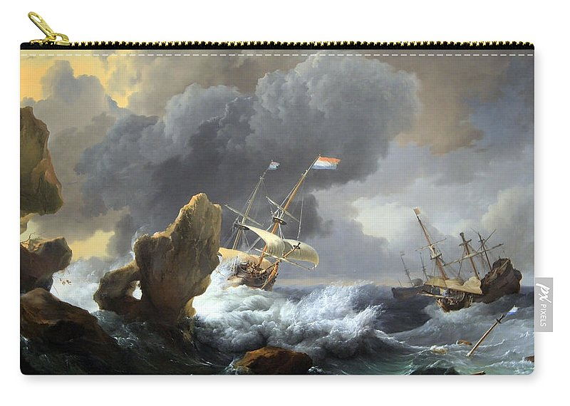 Ships In Distress Off A Rocky Coast Carry-all Pouch featuring the photograph Backhuysen's Ships In Distress Off A Rocky Coast by Cora Wandel