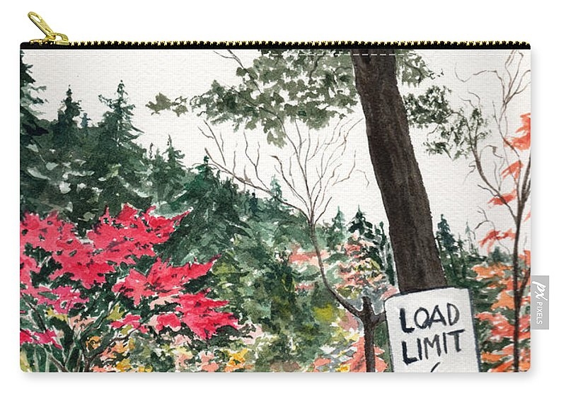 Watercolor Carry-all Pouch featuring the painting Backwoods Bridge by Brenda Owen