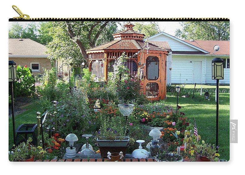 Flowers Carry-all Pouch featuring the photograph Backyard Garden by Thomas Woolworth