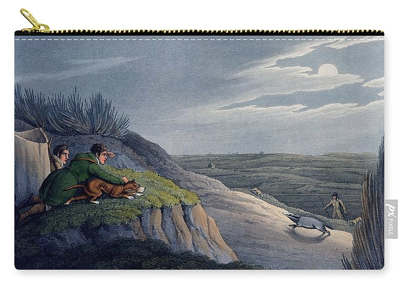 Hunt Carry-all Pouch featuring the drawing Badger Catching, 1820 by Henry Thomas Alken
