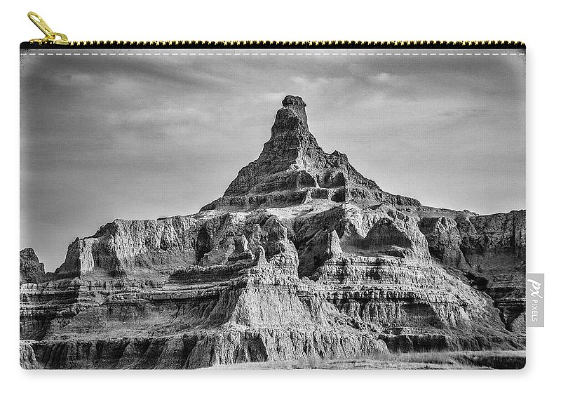 Vertical Carry-all Pouch featuring the photograph Badlands Peak by Paul Freidlund