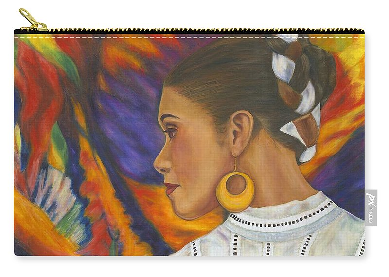 Mexican Carry-all Pouch featuring the painting Baile Con Colores by Pat Haley