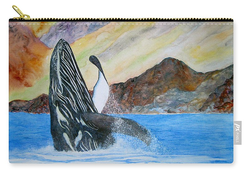 Humpback Whale Carry-all Pouch featuring the painting Baja Breach by Patricia Beebe