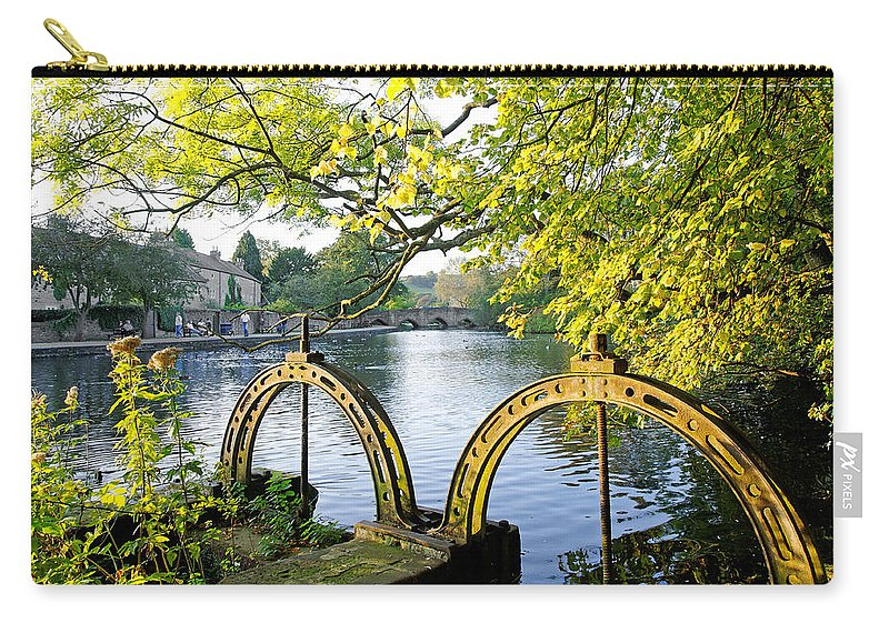 Bright Carry-all Pouch featuring the photograph Bakewell Weir Sluice Gates by Rod Johnson
