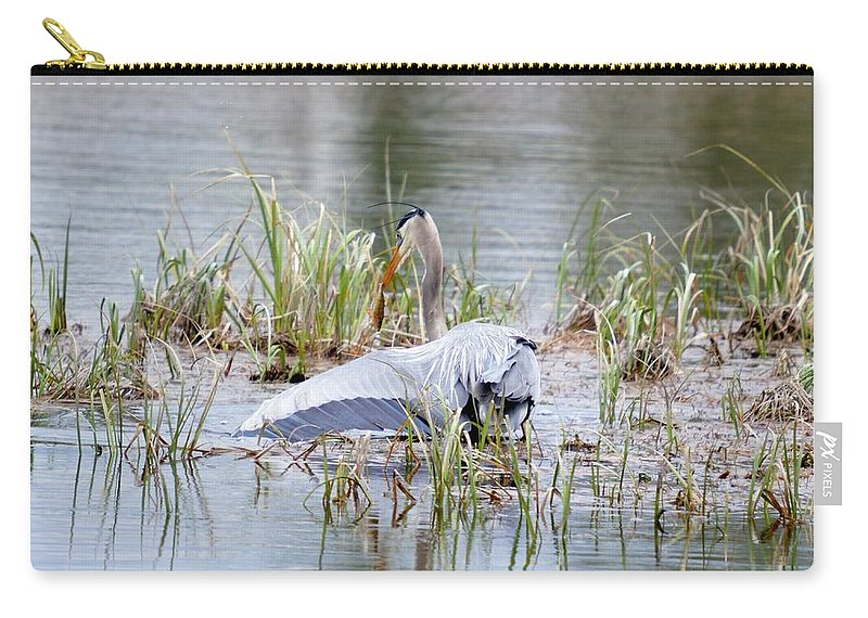 Great Blue Heron Carry-all Pouch featuring the photograph Balance by Thomas Phillips