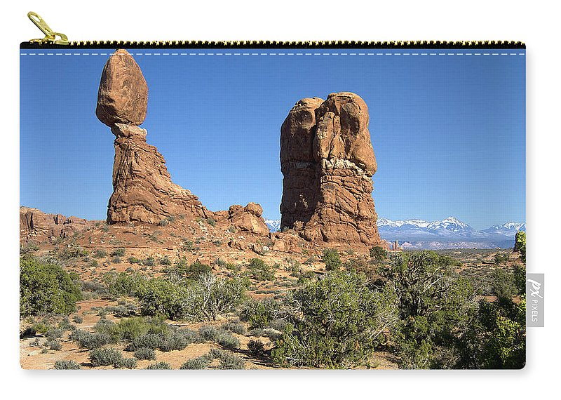 Balaned Carry-all Pouch featuring the photograph Balanced Rock Arches National Park Utah by Peter Lloyd