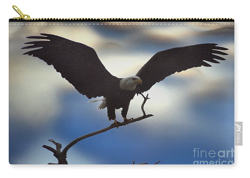 Bald Eagle Carry-all Pouch featuring the photograph Bald Eagle And Clouds by Sharon Elliott