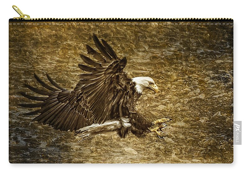 Bald Eagle Capture Carry-all Pouch featuring the photograph Bald Eagle Capture by Wes and Dotty Weber