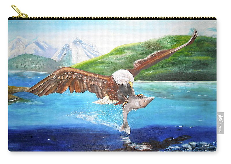 Eagle Carry-all Pouch featuring the painting Bald Eagle Having Dinner by Thomas J Herring