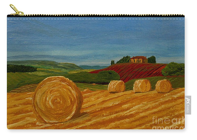 Hay Carry-all Pouch featuring the painting Field Of Golden Hay by Anthony Dunphy