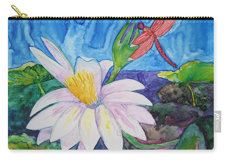 Dragonfly Carry-all Pouch featuring the painting Bali Dragonfly by Patricia Beebe