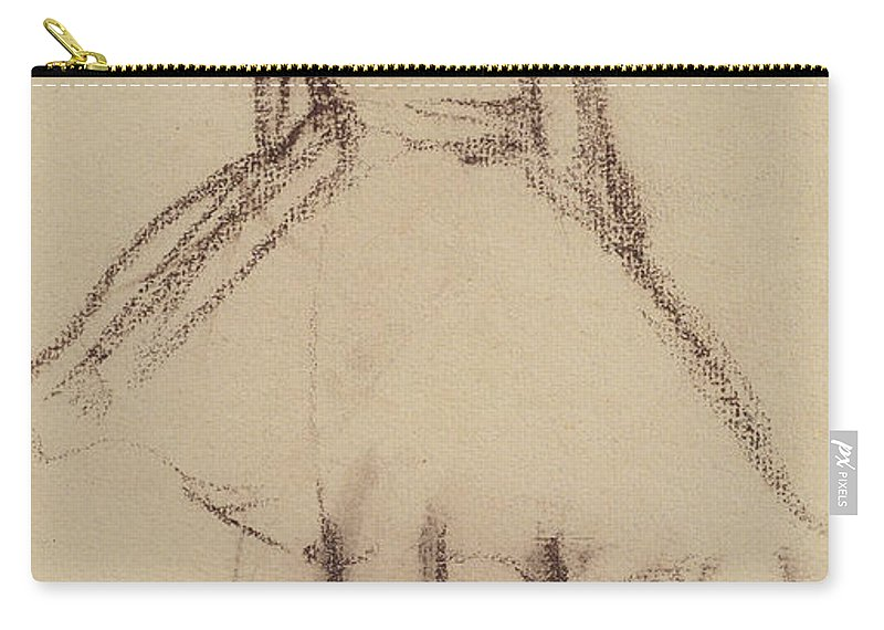 Ballerine Vue De Dos; Ballet Dancer; Female; Girl; Tutu; Dancing; Practice; Drawing; C19th; C20th Carry-all Pouch featuring the drawing Ballerina Viewed From The Back by Edgar Degas