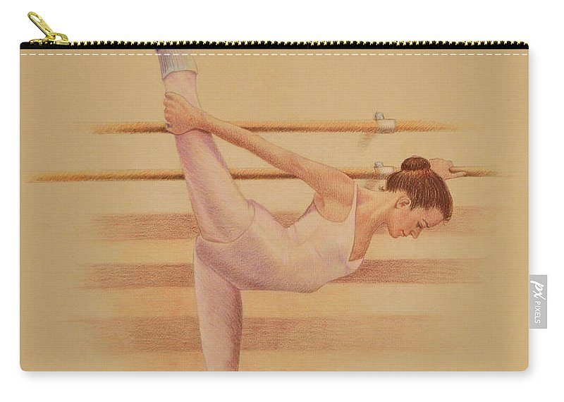Figurative Carry-all Pouch featuring the drawing Balllet Dancer In Extension by Phyllis Tarlow