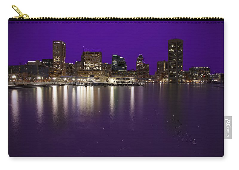 Ravens Carry-all Pouch featuring the photograph Baltimore Bleeds Purple Believe by Michael French