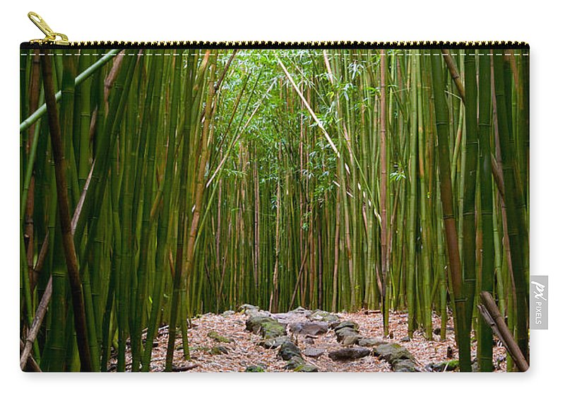 Bamboo Forest Trail Trails Rock Rocks Path Paths Haleakala National Park Seven Pools Area Maui Hawaii Nature Landscape Landscapes Carry-all Pouch featuring the photograph Bamboo Forest by Bob Phillips