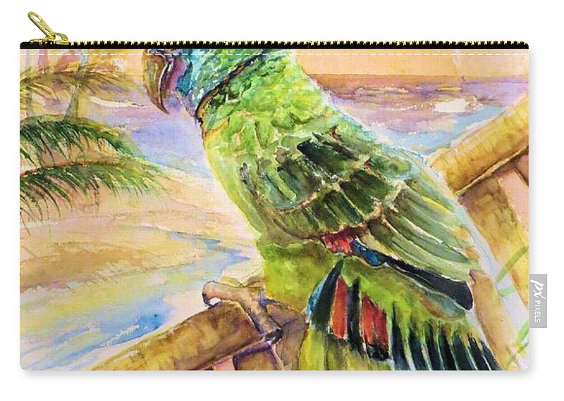 Banana Tree Carry-all Pouch featuring the painting Banana Tree And Tropical Bird by Bernadette Krupa
