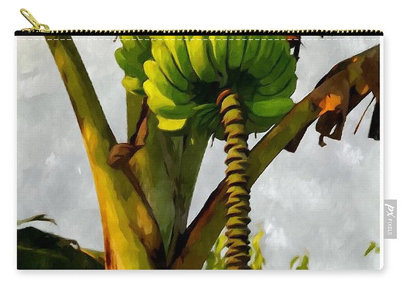 Banana Carry-all Pouch featuring the painting Banana Trees With Fruits And Flower In Lush Tropical Garden by Jeelan Clark