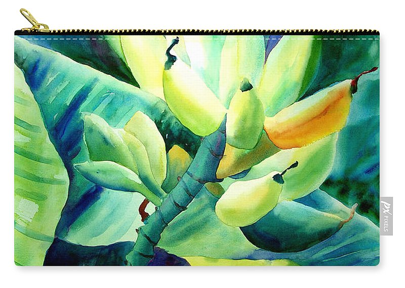 Watercolor Carry-all Pouch featuring the painting Bananas 6-12-06 Julianne Felton by Julianne Felton