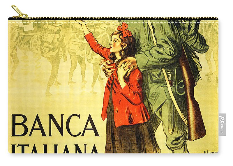 Poster Carry-all Pouch featuring the drawing Banca Italiana Di Sconto, 1917 by Enrico della Lionne