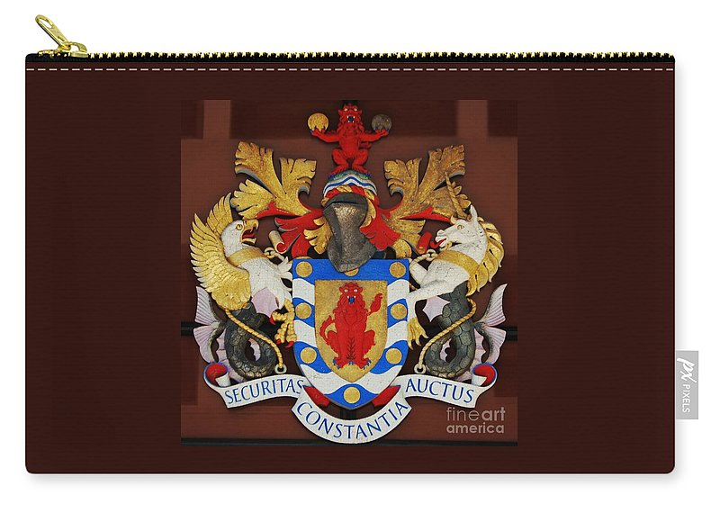 Coat Of Arms Art Heraldic Bermuda Historic Emblem Defunct Bank Hsbc Red Lion Unicorn Winged Horse Latin Inscription Knights Visor Iconic Image Heraldry British Influence Canvas Print Metal Frame Wood Print Poster Print Available On Greeting Cards T Shirts Throw Pillows Shower Curtains Tote Bags Phone Cases Pouches Spiral Notebooks And Mugs Carry-all Pouch featuring the photograph Bank Of Bermuda Coat Of Arms by Marcus Dagan