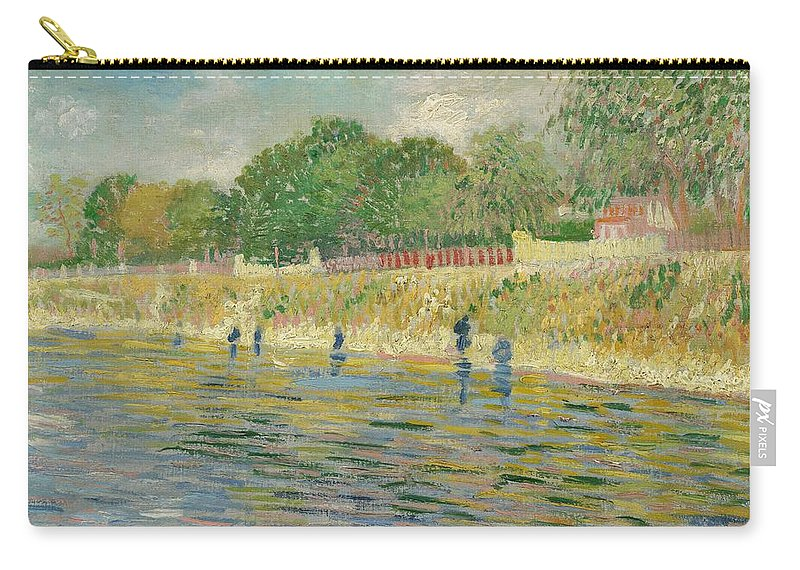 Bank; Seine; River Seine; Asni�res; View; Riverbank; Summer; Sunshine; Idyllic; Dappled; Water; Pointillist; Pointillism; Post-impressionist; Post-impressionism; France; French; Dutch; Short Brush Strokes Carry-all Pouch featuring the painting Bank Of The Seine by Vincent van Gogh