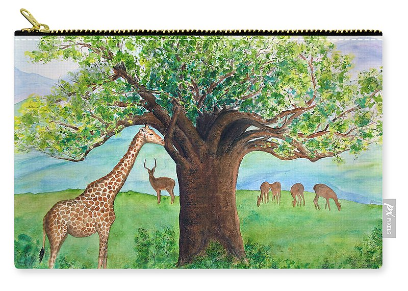 Baobab Tree Carry-all Pouch featuring the painting Baobab And Giraffe by Patricia Beebe