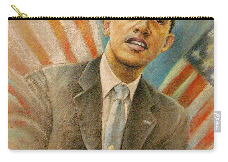 Barack Obama Portrait Carry-all Pouch featuring the painting Barack Obama Taking It Easy by Miki De Goodaboom