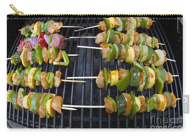 Bbq Carry-all Pouch featuring the photograph Barbeque Kabobs On Grill by Jason O Watson