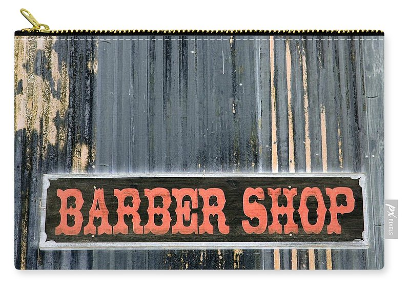 Barber Shop Carry-all Pouch featuring the photograph Barber Shop - Photopower by Pamela Critchlow