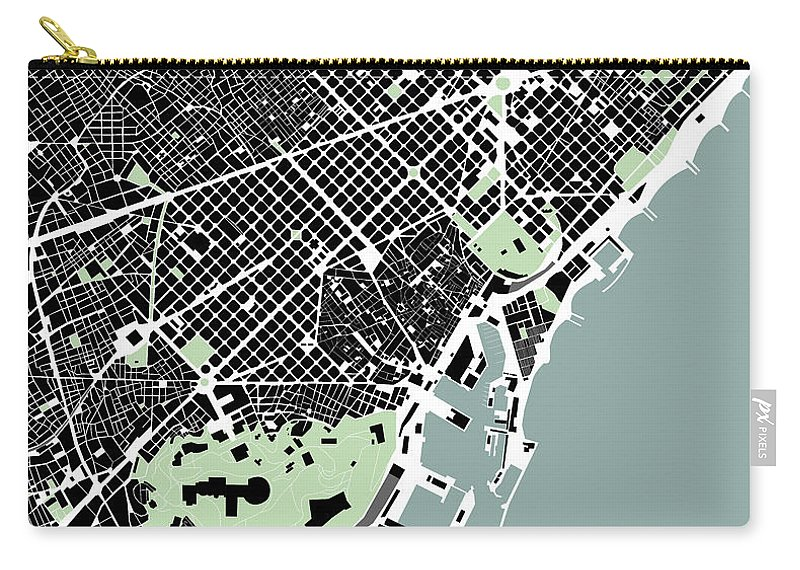 Barcelona Carry-all Pouch featuring the digital art Barcelona - Gsc by Gytaute Akstinaite