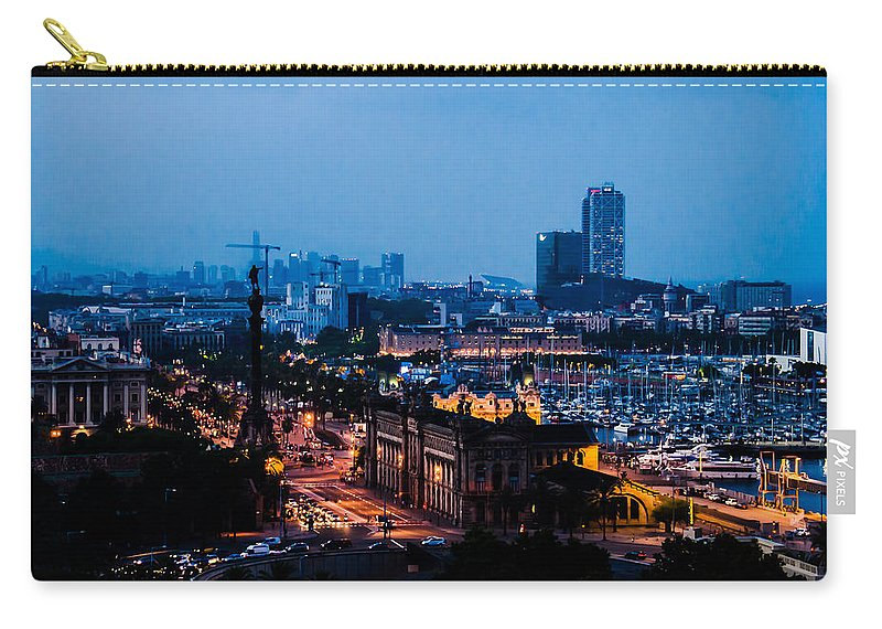 Architecture Carry-all Pouch featuring the photograph Barcelona At Night by Sotiris Filippou