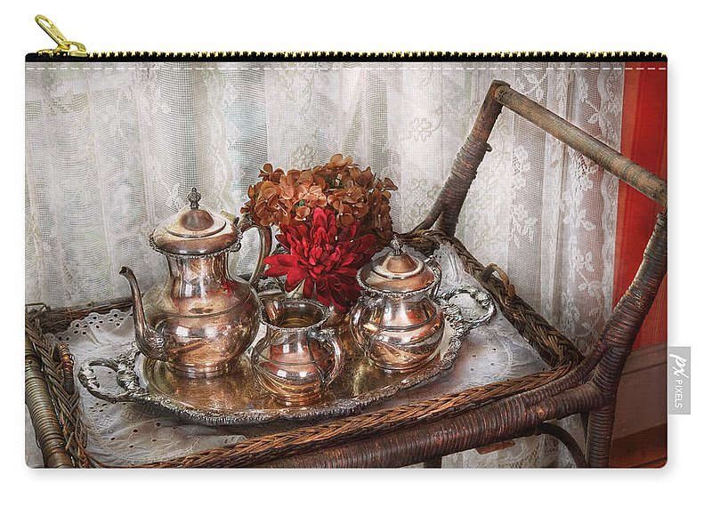 Savad Carry-all Pouch featuring the photograph Barista - Tea Set - Morning Tea by Mike Savad