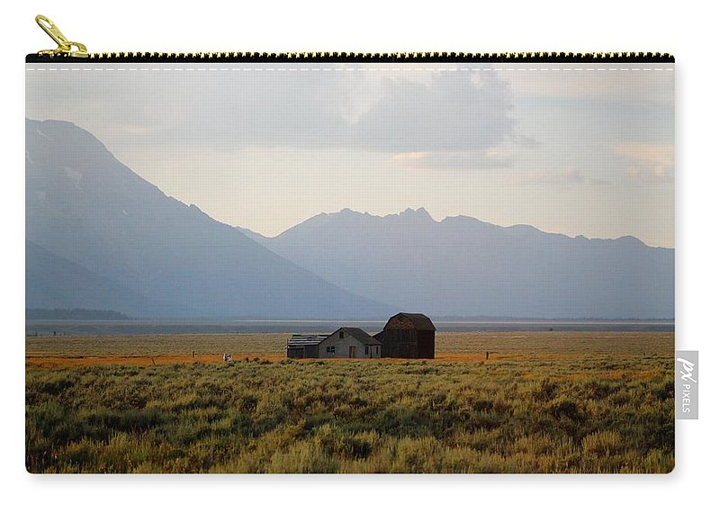 Barn Carry-all Pouch featuring the photograph Barn And Mountains by Catie Canetti